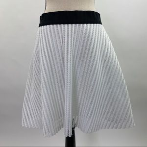 Milly circle skirt white with black band 8